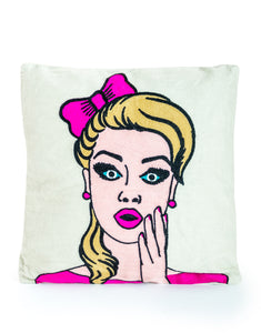 Oooh Pop Art Style Embroidered Cushion 40 cm Square