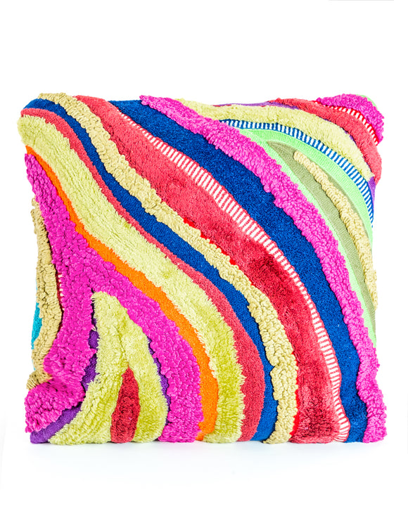Multicolour Recycled Patchwork Wave Cushion 45 cm Square