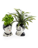 Set of 2 Man & Woman Ceramic Plant Pots / Vases