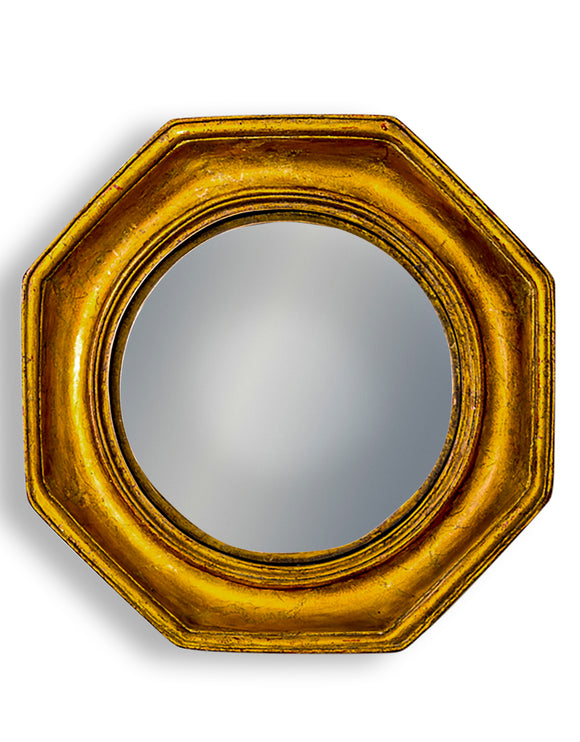 Antiqued Gold Octagonal Frame Convex Fisheye Wall Mirror 25 cm x 25 cm