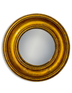 Antiqued Gold Round Frame Convex Fisheye Wall Mirror 23 cm Diameter