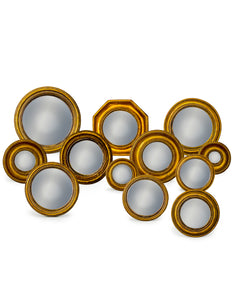 Set of 12 Antiqued Gold Frame Convex Fisheye Wall Mirrors