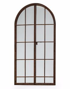 Large Antiqued Antiqued Iron Metal Arch Window Mirror Opening Doors 170 cm High