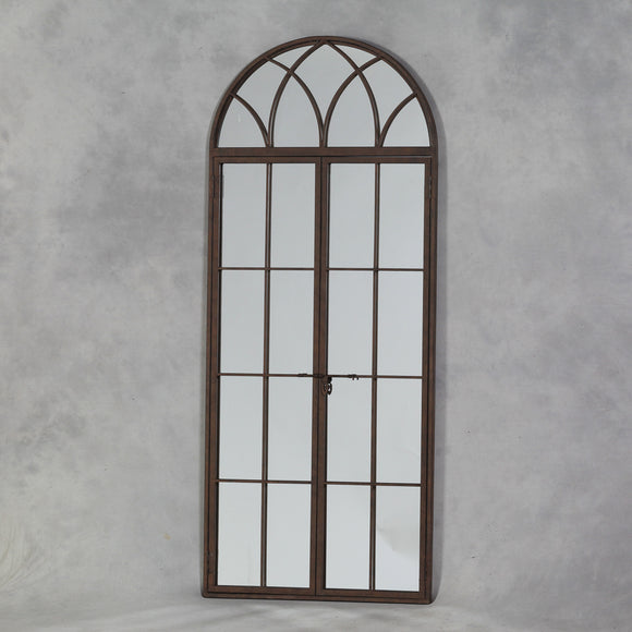 Large Antiqued Iron Metal Arch Window Mirror Opening Doors 180 cm High