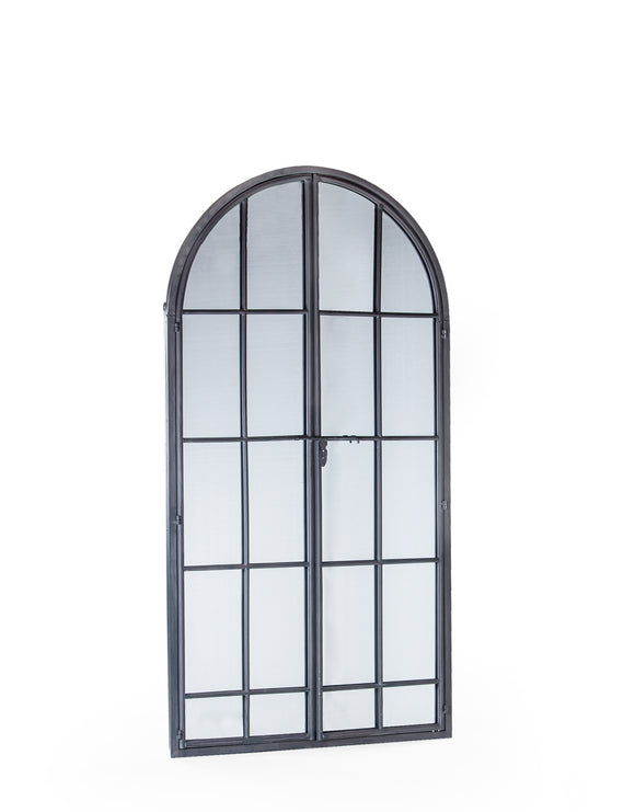 Large Antiqued Lead Grey Metal Arch Window Mirror Opening Doors 170 cm High