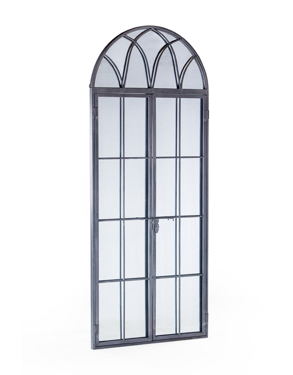 Large Antiqued Lead Grey Metal Arch Window Mirror Opening Doors 180 cm High