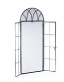 Large Antiqued Lead Grey Metal Arch Window Mirror Opening Doors 180 cm High - Due November