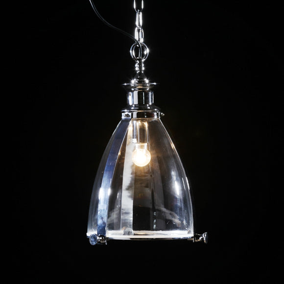 Chrome and Glass Lantern Ceiling Pendant Light 50 x 30 x 30 cm - Due April / May