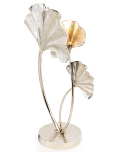 Large Nickel Plated Ginkgo Leaf Table Lamp 79 cm High x 38 cm Wide x 25.5 cm Deep