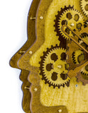 Wooden Head Creative Brain Moving Gears Clock