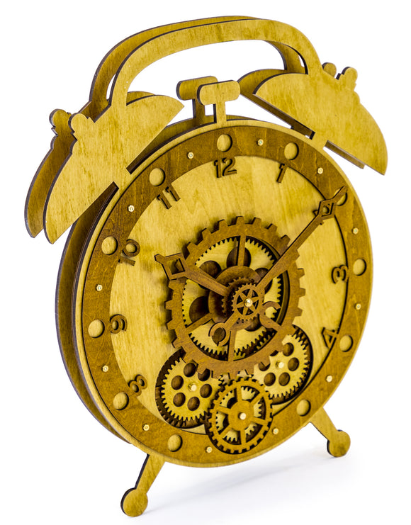 Wooden Alarm Shaped Clock With Moving Gears