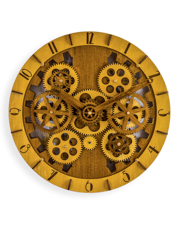 Round Wooden Clock With Moving Gears