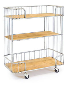 Industrial Style Antiqued Metal Frame Trolley with Wooden Shelves & Castors