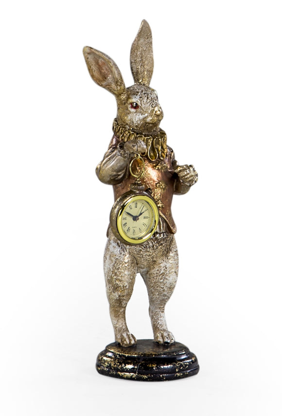 Alice in Wonderland Gold and White Rabbit With Working Clock Standing Figure 35 cm High