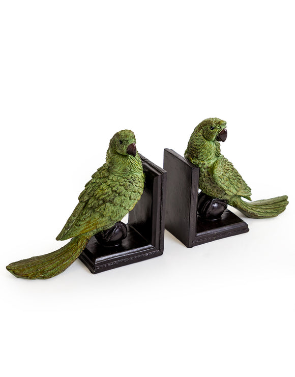 Pair of Green Parrot on Ball Bookends