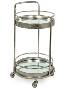 Antiqued Silver Leaf Round Metal Drinks Bar Trolley 2 Mirror Shelves 77 cm High - Expected early December