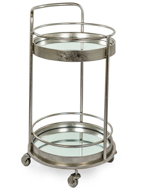 Antiqued Silver Leaf Round Metal Drinks Bar Trolley 2 Mirror Shelves 77 cm High
