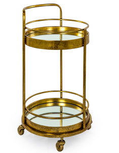 Antiqued Gold / Bronze Leaf Round Metal Drinks Bar Trolley 2 Mirror Shelves 77 cm High