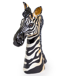 Large Ceramic Zebra Head Vase 38 cm Tall