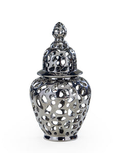 Large Silver Pierced Ceramic Jar With Lid 63 cm High