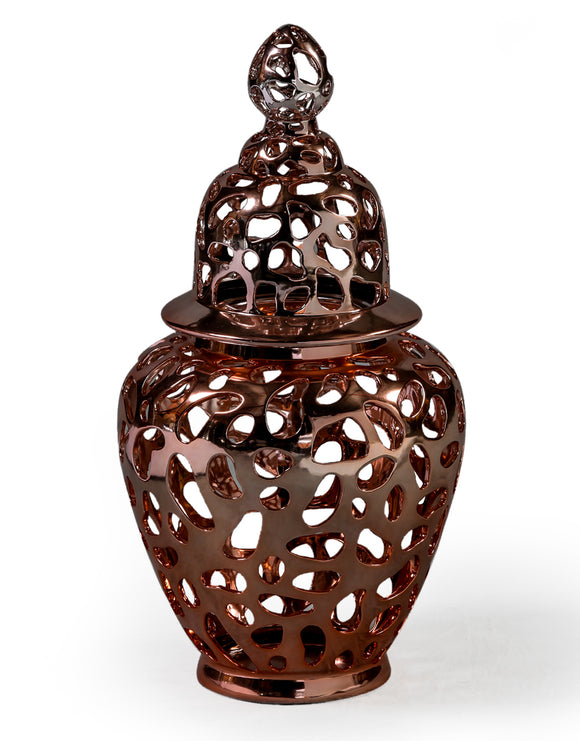 Large Copper Pierced Ceramic Jar With Lid 63 cm High