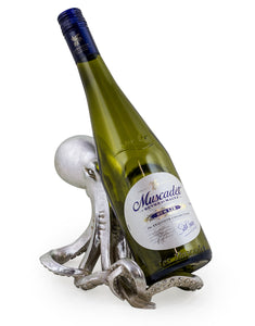 Decorative Tabletop Silver Octopus Wine Bottle Holder 14 cm x 23 cm 17 cm