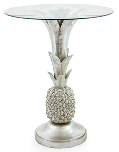 Silver Pineapple Side Table With Round Glass Top 64 cm High x 50 cm Diameter - Due late March
