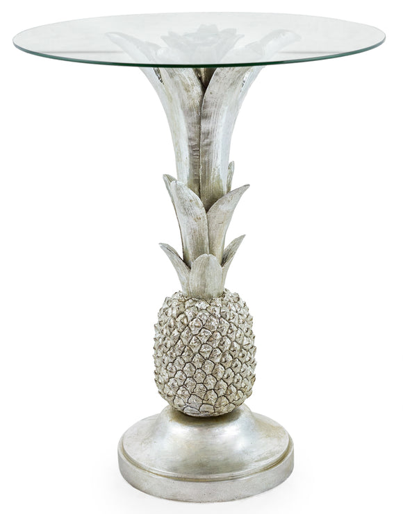 Silver Pineapple Side Table With Round Glass Top 64 cm High x 50 cm Diameter