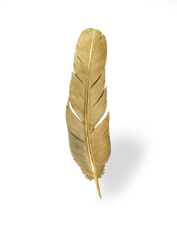 Large Antiqued Gold Feather Wall Hanging Decor