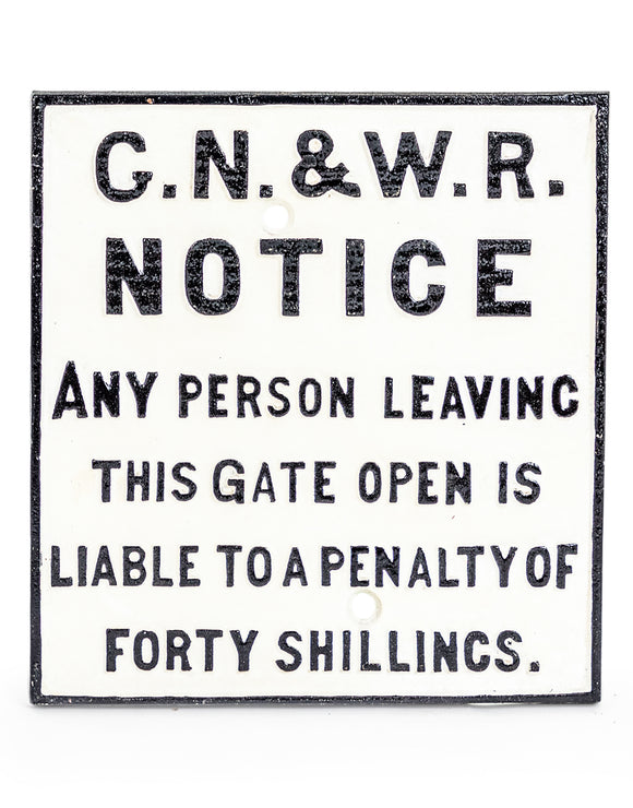 Cast Iron Reproduction Antiqued Railway G.N. & W. Sign Gate Open 28 x 26.5 cm
