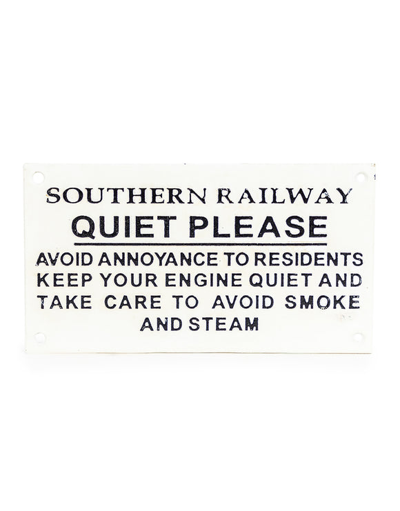 Cast Iron Reproduction Antiqued Great Western Railway Toilet Notice Quiet Please