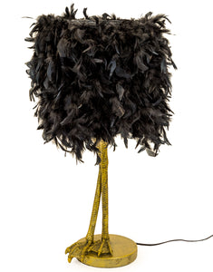Large Antiqued Gold Bird Leg Leggy Table Lamp Black Feather Shade 79 cm High