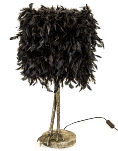 Large Antiqued Silver Bird Leg Leggy Table Lamp Black Feather Shade 79 cm High