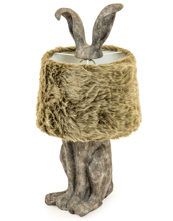 Large Antiqued Grey Rabbit Hare Ears Lamp With Fur Shade 77 cm High