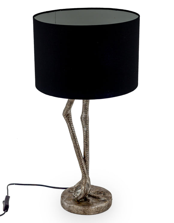 Antiqued Silver Flamingo Legs Lamp with Black Shade 60cm High
