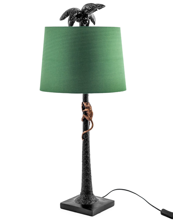 Tall Black Palm Tree With Gold Climbing Monkey Table Lamp Green Shade 84 cm High