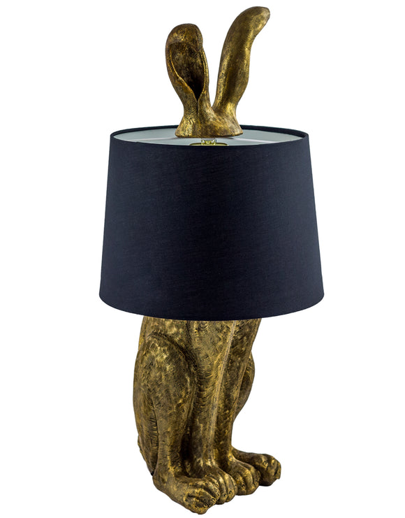 Large Antiqued Gold Rabbit Hare Ears Lamp Black Shade 77 cm High