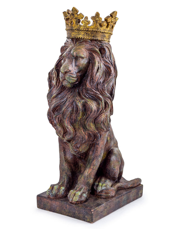 Rustic Lion with Gold Crown Sitting Figure Figurine Ornament Statue 57 cm High