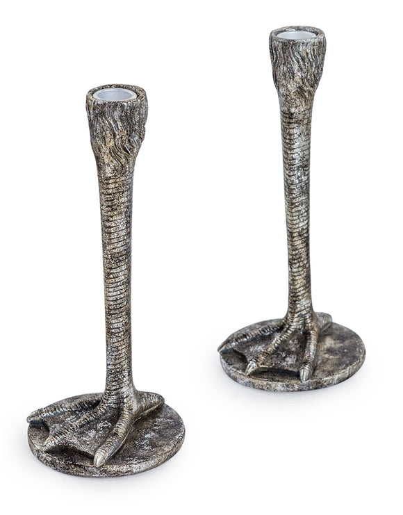 Pair of Antiqued Silver Bird Leg Candlesticks Candle Sticks Duck Feet 25.5 cm High