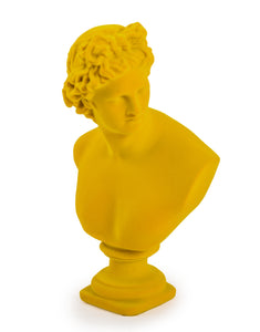 Flocked Classical Apollo Bust |  Bright Yellow 30 cm High