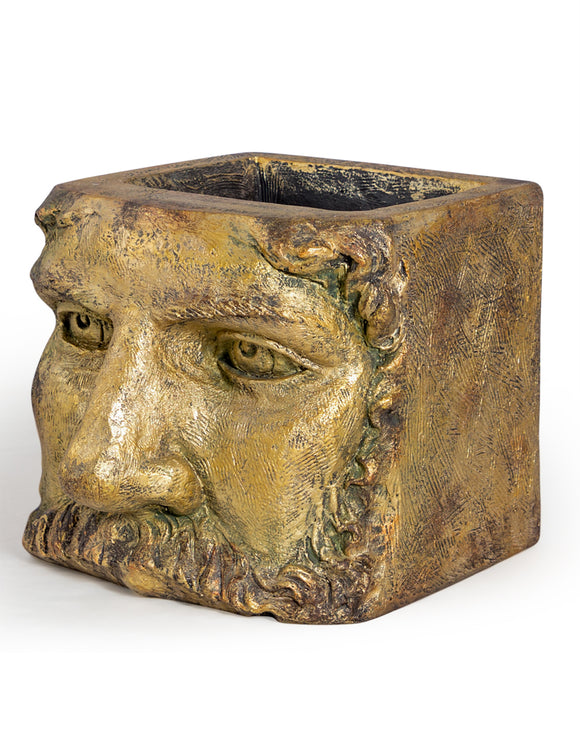 Large Antiqued Gold Stone Effect Classical Face Planter 45 x 36 x  35 cm