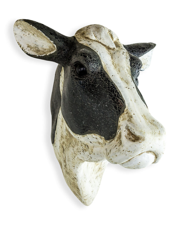 Large Mosaic Friesian Cow Head Wall Hanging Art Sculpture 54 x 39 x 46 cm