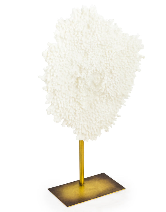 Large White Faux Coral Decor Antiqued Gold Metal Post & Base 61.5 cm High x 37 cm Wide - Due March 2021
