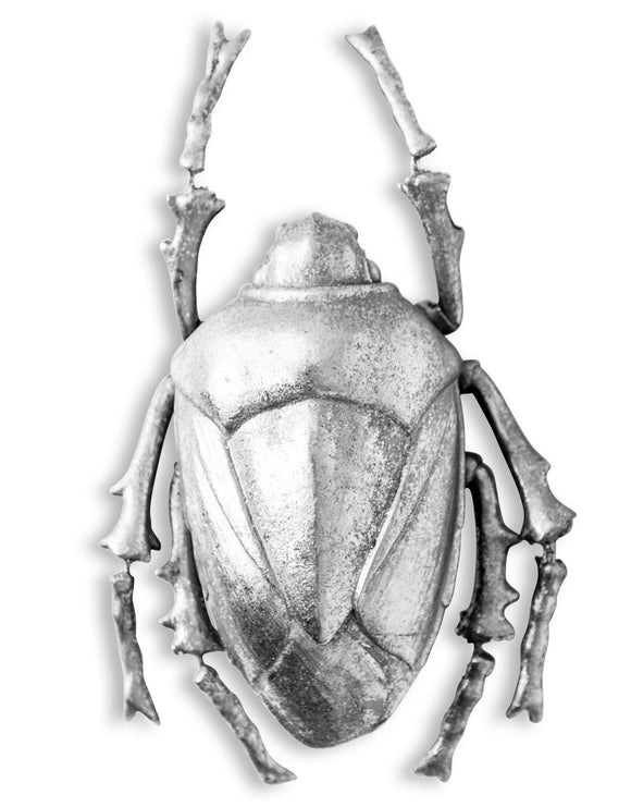 Large Silver Beetle Wall Hanging Sculpture 29 cm High x 17.5 cm Wide x 8.5 cm Deep
