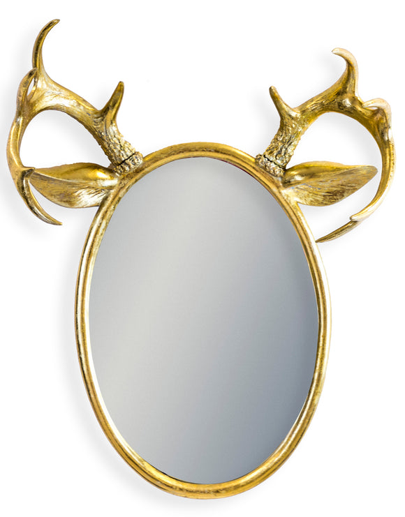 Gold Oval Stag Antler Wall Mirror 63 x 48 x 20.5 cm