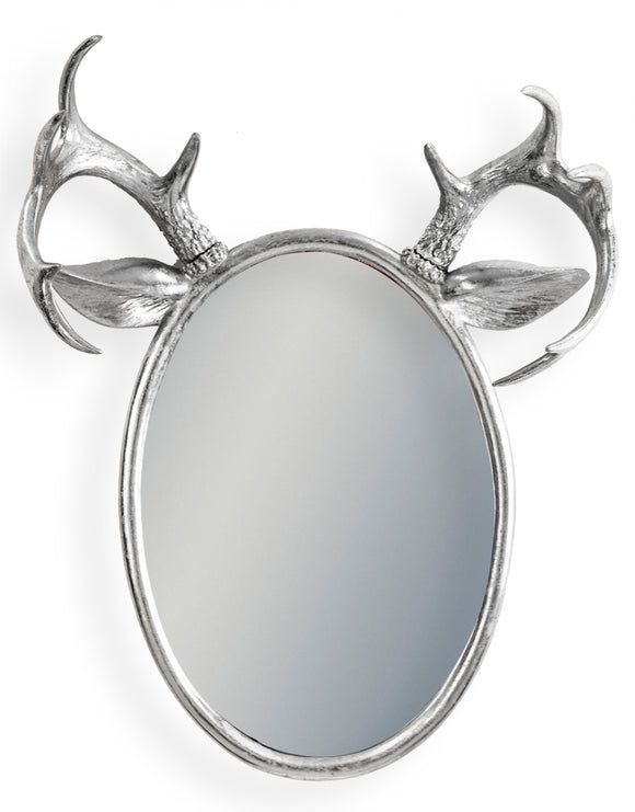 Silver Oval Stag Antler Wall Mirror 63 x 48 x 20.5 cm