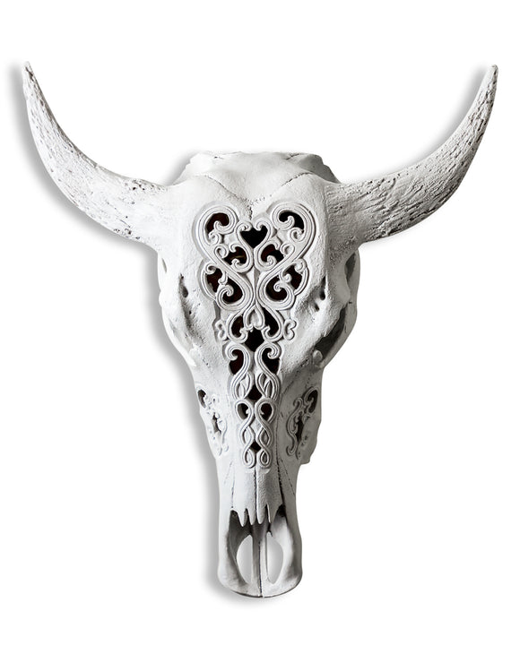 White Carved Bison Skull Wall Hanging Tribal Style