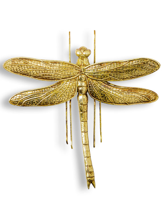Large Antiqued Gold Dragonfly Wall Hanging Sculpture 27 cm High x 27 cm Wide x 8 cm Deep