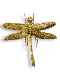 Medium Antiqued Gold Dragonfly Wall Hanging Sculpture 21.5 cm High x 21.3 cm Wide x 8 cm Deep