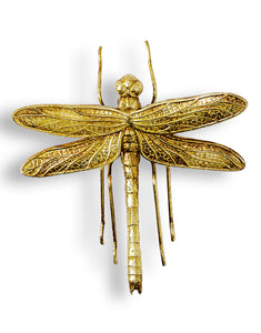 Small Antiqued Gold Dragonfly Wall Hanging Sculpture 17 cm High x 17 cm Wide x 5.5 cm Deep